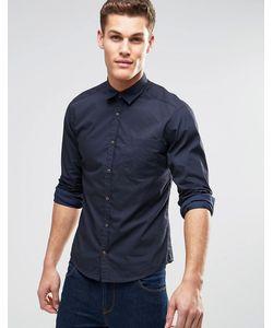 Esprit | Рубашка Зауженного Кроя С Длинными Рукавами Темно-Синий