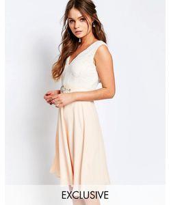 Elise Ryan | Платье Миди С Кружевным Лифом И Отделкой На Талии