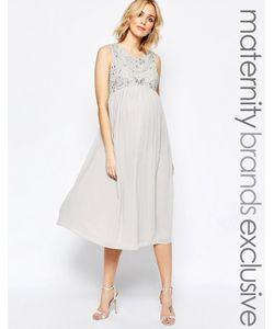 Maya Maternity | Платье Миди Для Беременных С Декоративной Отделкой Серый