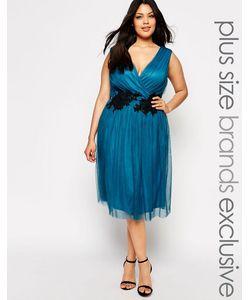Little Mistress Plus | Платье Миди С Запахом И Кружевной Аппликацией