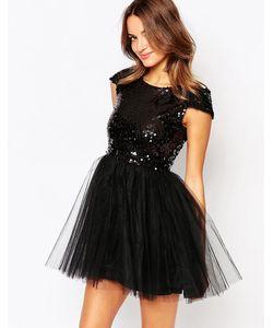 Little Black Dress | Платье С Расшитым Пайетками Лифом И Юбкой Из Тюля Little Black