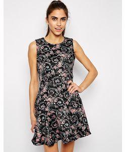 Style London | Платье С Расклешенной Снизу Юбкой Из Фактурной Ткани С Цветочным Принт