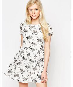 Style London | Платье С Монохромным Цветочным Принтом