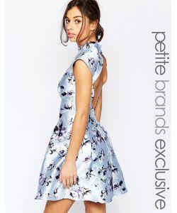 Chi Chi Petite   Платье Для Выпускного С Высокой Горловиной Открытой Спинкой И Цветочным Принтом