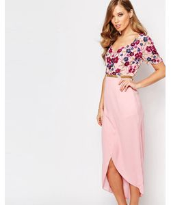 Virgos Lounge | Платье Миди С Запахом Спереди И Отделкой Розовый
