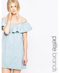 Chorus Petite | Платье С Открытыми Плечами И Оборкой Синий