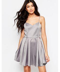 Mela Loves London | Приталенное Платье С Бантом На Спинке Серый