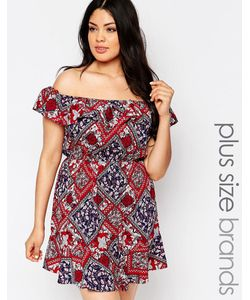 NVME | Платье С Открытыми Плечами И Съемными Бретельками Plus Мульти
