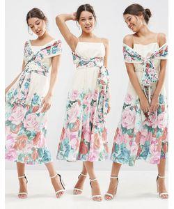 Asos | Платье-Трансформер Миди Для Выпускного С Цветочным Принтом Мульти