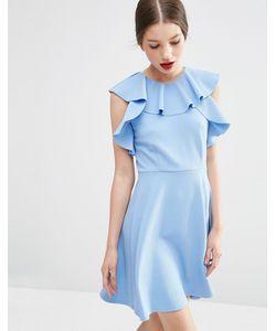 Asos | Короткое Приталенное Платье С Оборками У Горловины Синий