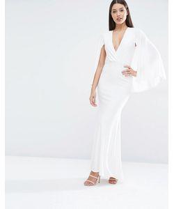 Club L | Платье Макси С Глубоким Вырезом И Накидкой Кремовый