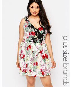 NVME   Короткое Приталенное Платье С Цветочным Принтом Plus Мульти
