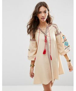 Asos | Свободное Платье С Ацтекской Вышивкой Premium Кремовый