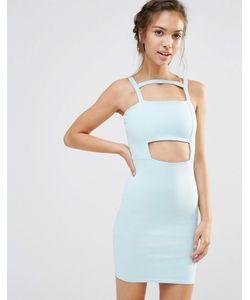 boohoo | Облегающее Платье С Вырезом Бледно-Синий