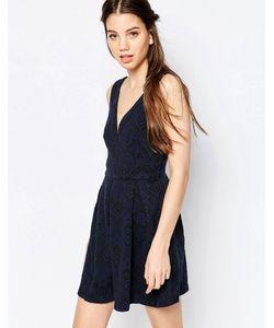 Hazel | Кружевное Короткое Приталенное Платье Синий