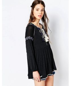 Hazel | Блузка В Богемном Стиле С Вышивкой Черный