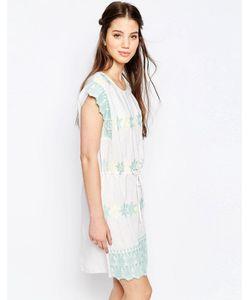 Hazel | Платье С Присборенной Юбкой И Пастельной Вышивкой Белый