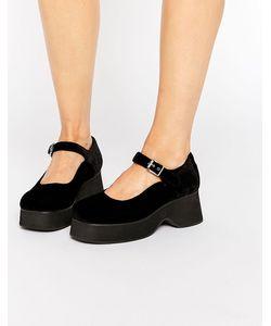 Unif | Черные Бархатные Туфли С Ремешками The Spoilers