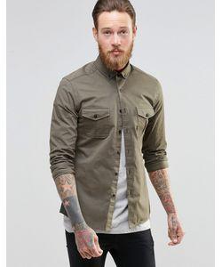 Asos | Рубашка Скинни В Стиле Милитари С Длинными Рукавами