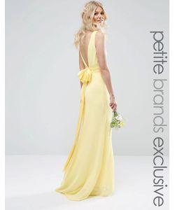 TFNC Petite | Свадебное Платье Макси С Сатиновым Бантом Сзади Лимонный