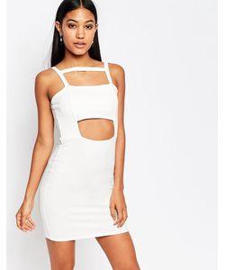 boohoo | Облегающее Платье С Вырезом Белый
