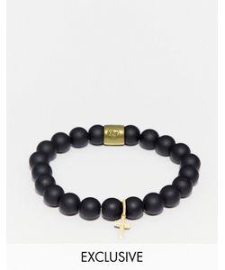 Chained & Able | Черный Браслет Из Бусин С Крестиком Черный