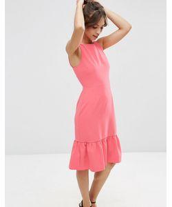 Asos | Платье Миди С Оборкой По Краю Розовый