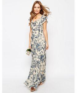 Asos | Платье Макси С Принтом И Оборкой Wedding Мульти