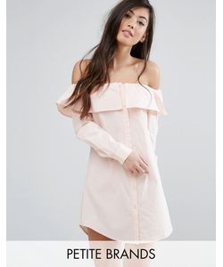 Fashion Union Petite   Платье-Рубашка С Широким Вырезом И Пуговицами Спереди