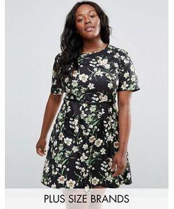 Yumi Plus | Короткое Приталенное Платье С Цветочным Принтом И Ремнем