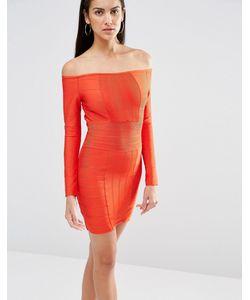 MISSGUIDED   Бандажное Облегающее Платье С Открытыми Плечами Красный
