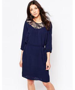 ICHI | Цельнокройное Платье С Поясом И Кружевной Кокеткой Темно-Синий