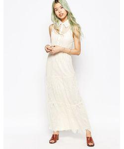 Hazel | Кружевное Платье Макси Кремовый