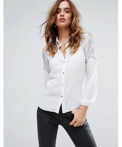 Lipsy | Рубашка С Контрастной Кружевной Отделкой