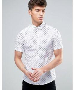 Asos | Зауженная Белая Рубашка С Принтом
