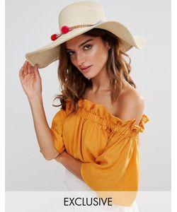 South Beach | Соломенная Шляпа С Помпонами