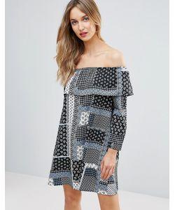Influence | Платье С Открытыми Плечами И Принтом Пэтчворк Frill
