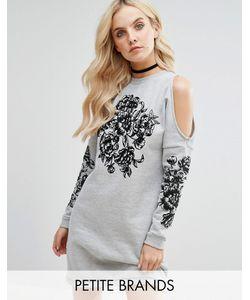 Miss Selfridge Petite | Cold Shoulder Embroide Sweater Dress