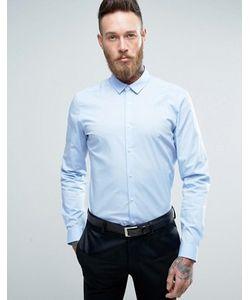 Asos | Синяя Стретчевая Рубашка Зауженного Кроя
