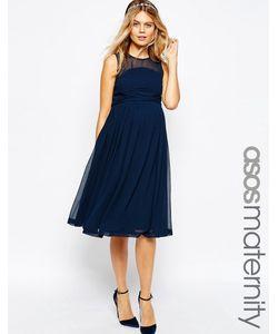 ASOS Maternity | Платье Миди Для Беременных С Оборкой Wedding Темно-Синий