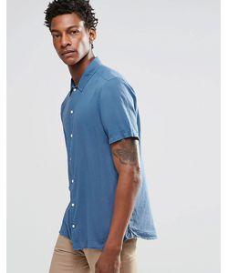 Asos | Синяя Рубашка С Отложным Воротником И Короткими Рукавами Синий