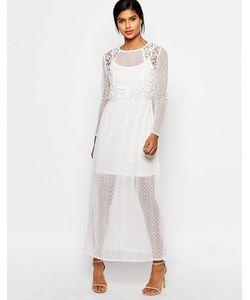 Vero Moda | Платье Макси Из Полупрозрачного Кружева Снежно-Белый