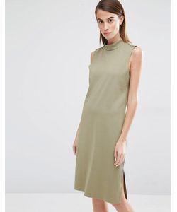 Selected | Цельнокройное Платье С Высокой Горловиной Coda Алоэ