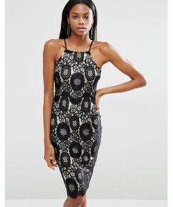 MISSGUIDED | Кружевное Платье Миди В Стиле 90-Х Черный