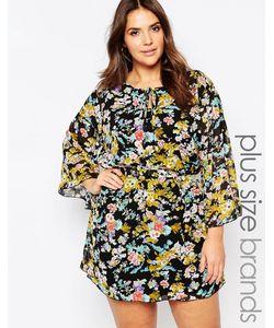 Yumi Plus   Цельнокройное Платье С Рукавомбабочка И Цветами