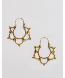 Reclaimed | Vintage Brass Cut Out Hoop Earrings