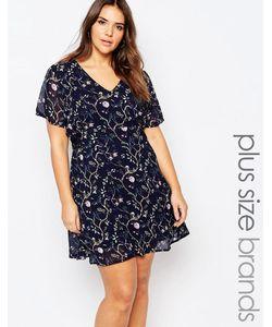 Yumi Plus   Короткое Приталенное Платье С Кружевными Вставками Темно-Синий