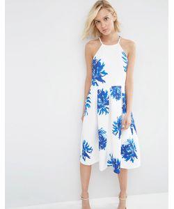 Asos | Пышное Платье Миди С Ярким Цветочным Принтом Мульти