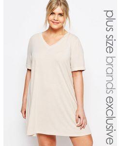 One Day Plus | Платье-Футболка В Стиле Oversize Бежевый