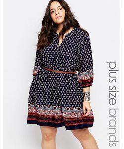Yumi Plus | Платье С Поясом И Принтом Темно-Синий